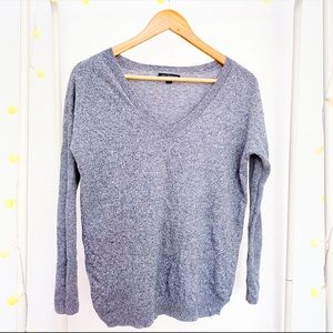 AMERICAN EAGLE Grey Long Sleeve V Neck Sweater
